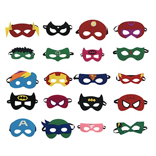 Superheroes Party Masks for Children (20-Pack) Costumes for Girls, Boys, (Home Made Hulk Costumes)