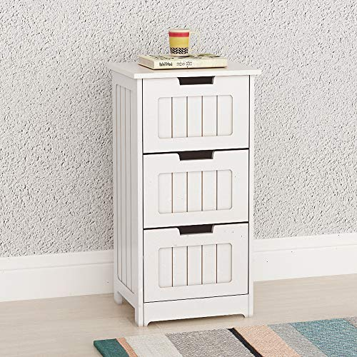 DlandHome Bathroom Storage Cabinet, Wooden Free Standing Cabinet Side Organizer Office Cabinet with 3 Drawers DUS-RF6027