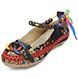 KCatsy Trendy Round Toe Ankle Strap Tied Beads Floral Print Flat Heel Women Shoes Black