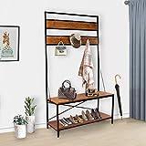 LASUAVY Coat Rack, Shoe Bench, Vintage Shoe Coat Rack, Hall Tree Entryway Shelf