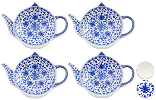 4-Pack of Blue & White Teapot-Shaped Porcelain Ceramic Tea Bag (Tea Bag Holder Caddies)