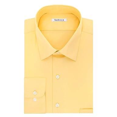 6ca36f963649b Van Heusen Men s Regular-Fit Lux Sateen Dress Shirt Yellow (16.5 quot  Neck  34