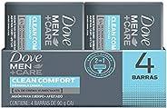 Dove, Jabón en Barra para cuerpo y afeitado de 90 gramos, Clean Comfort, Pack con 4 piezas