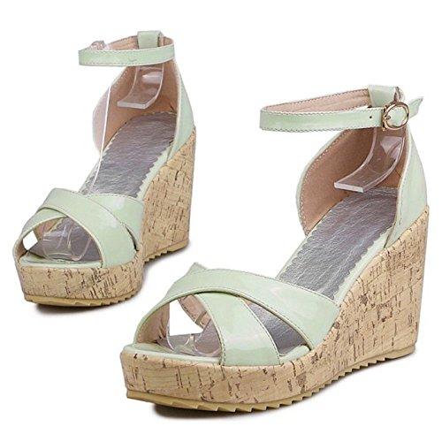 Sandales RAZAMAZA Femmes green Confort Compensees qqPatg