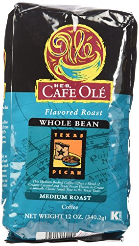 Whole Pecan Bean - HEB Cafe Ole Whole Bean Coffee 12oz Bag (Pack of 3) (Texas Pecan - Medium Dark Roast (Full City))