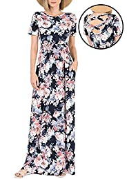 Women's Floral Print Crew Neck Short Sleeve Maxi Casual Dress