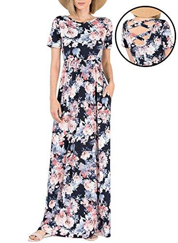 Lovezesent Casual Loose Floral Print Bohemian Style Long Maxi Beach Dress with Short Sleeve Crisscross Back Black Plus Size XL - Floral Empire Dress