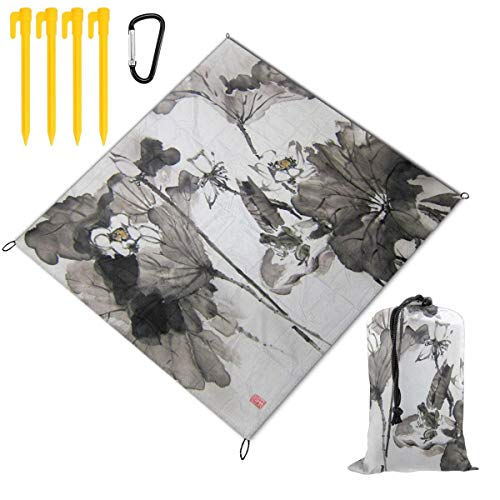 FunnyCustom Picnic Blanket Portable Waterproof Lotus and Frog Japanese Ink Painting Picnic Mat for Beach Camping 79 x 57 Inch