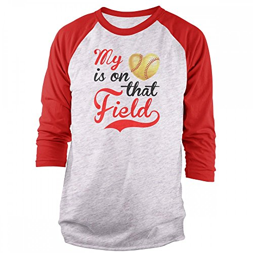 Vine Fresh Tees - My Heart is On That Field - Softball 3/4 Sleeve Raglan T-Shirt - Small, Ash w/Red