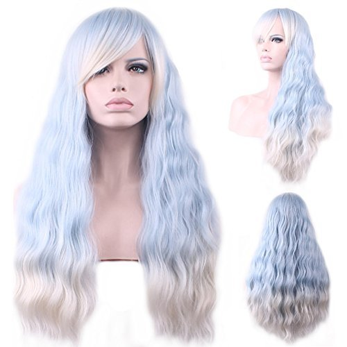 BERON 28'' Long Curly Ombre Light Blue Patel Wigs with Side Bangs Wig Cap Included (Light Blue Ombre Silvery White)