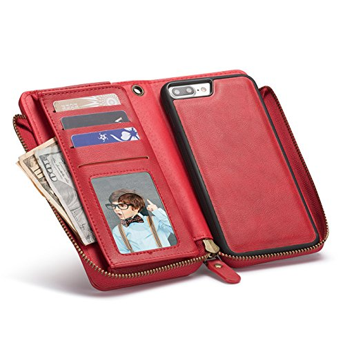 iPhone X Case,Vacio Zipper Card Slots Money Pocket Clutch Cover Wallet Retro Vintage Stand Smart Wallet Credit Billfold Pouch Magnetic Phone Sleeve Case for iPhone X (Red) by Vacio (Image #5)