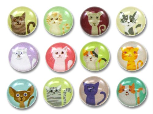 Cute Kitty Cats 12 Pieces Home Button Stickers for iPhone 5 4/4s 3GS 3G, iPad 2, iPad Mini, iPod Touch (Button Home Iphone 3g)