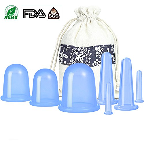 500-miles Anti Cellulite Cupping Therapy Set of 7 Silicone Vacuum Suticon Cups - Chinese Cupping Kit for Cellulite Body and Facial Massage