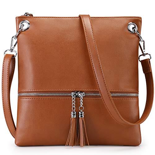 Newshows Lightweight Medium Canvas PU Leather Crossbody Bag with Tassel Purse for Women (4-Brown)