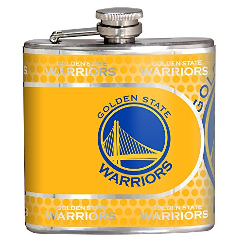 NBA Golden State Warriors Stainless Steel Hip Flask with Metallic Graphics, 6 oz., Silver