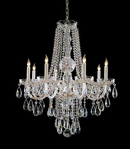 Crystorama 1108-PB-CL-SAQ, Swarovski Crystal Chandelier Lighting, 8 Light, 480 Watts, Brass ()