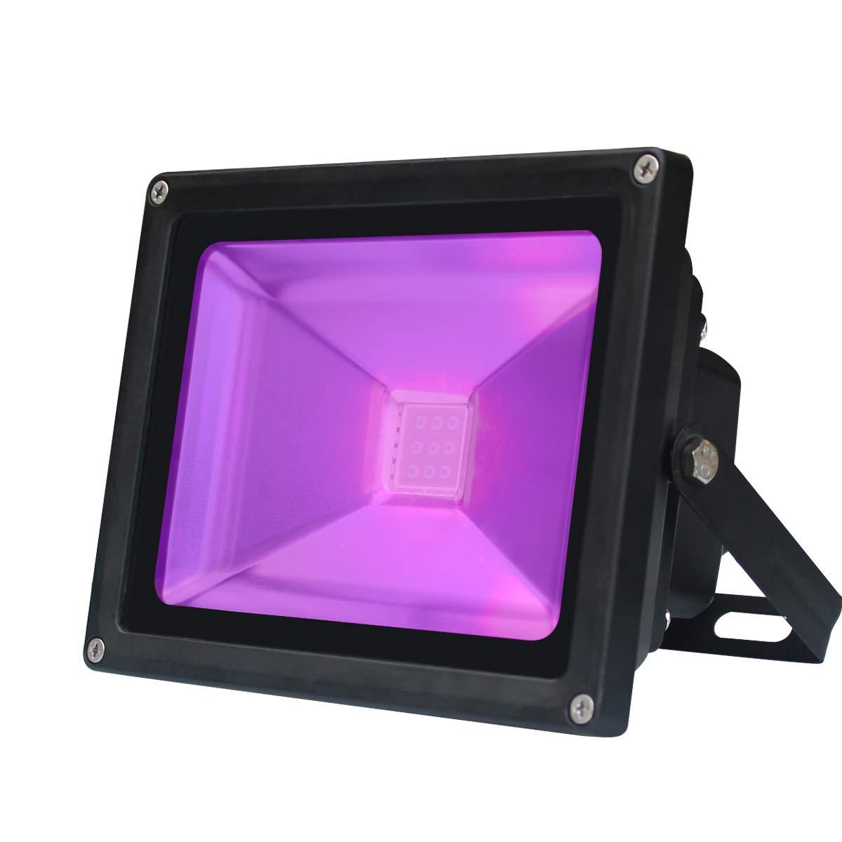 UV LED Black Light, 10W Violet LED Stage Decorative Light, AC 85-265V Energy-Saving LED Flood Waterproof Aluminum+Glass Ultra Lamp for Indoor Outdoor Entertainment Holiday Fluorescent Celebration