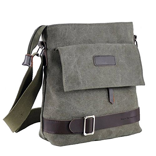 Mfeo Unisex Vintage Retro Canvas Messenger Bag Cross-Body Bag Small Shoulder Bag (Army Green)