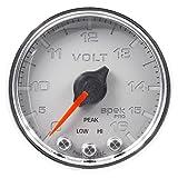Auto Meter P34421 Gauge, Voltmeter, 2 1/16'', 16V, Stepper Motor W/Peak & Warn, Slvr/Chrm, Spek-Pro