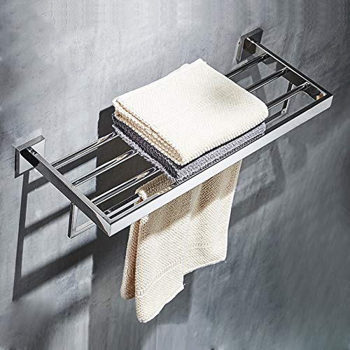 LOVELY Bathroom Square Bath Towel Rack Stainless Steel Mirror Polishing Chrome Quality Wall Mounted Towel Rail Holder Toilet Bar