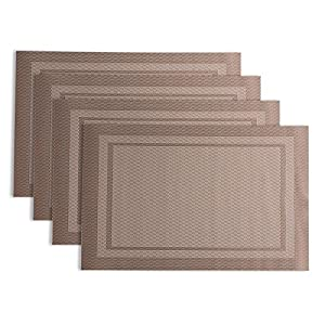 Placemats for dining table maleden silicone vinyl placemat washable heat resistant - Heat resistant table cloth ...
