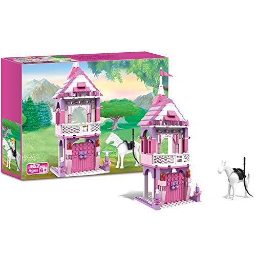 BRICK STORY Girls Princess Castle Building Blocks Toys Pink Palace White Horse Building Set for Girls Age 6+ Fairy Tales Decoration Creative Birthday Gifts for Kids Education Toys 167 PCS