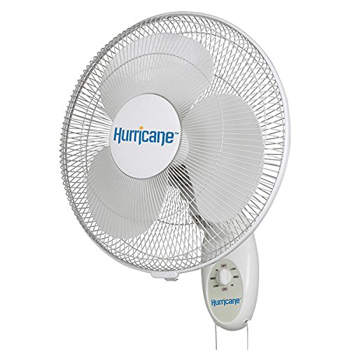 Non Oscillating Wall Mount - Hurricane Wall Mount Fan - 16 Inch | Supreme Series | Wall Fan with 90 Degree Oscillation, 3 Speed Settings, Adjustable Tilt - ETL Listed, White