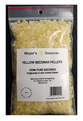 Meyer's 100% Pure Domestic USA Beeswax, NOT Imported, Chemical Free Triple Filtered Pellets for All Your Do It Yourself Projects (4 oz)