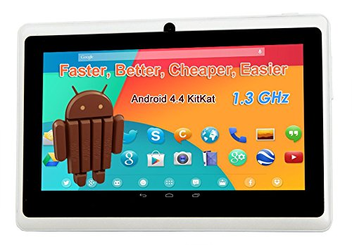 7 1024 A23 1.3GHz Android 4.4 Capacitive Dual Camera Tablet PC white