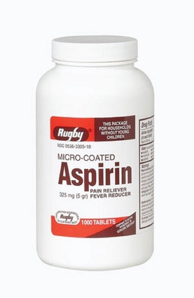 Rugby Aspirin Tablets 325 Mg 1000 Count (5 Pack)