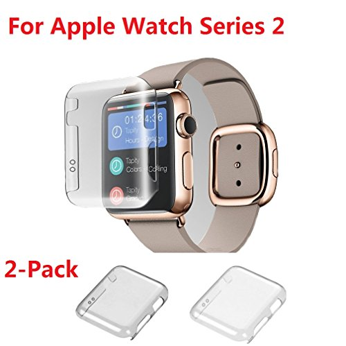 Apple watch Series 2 42MM Case , Monoy 2-Pack (Clear+Grey) New Design Slim Clear 2nd PC Hard Screen Protector for iwatch Series 2 42mm 2016 (PC Hard Case)