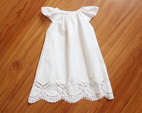 Handmade Long White Cap Sleeve Baby Girl Baptism Dress Lace Christening Gown