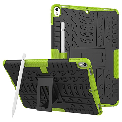 (KAMII Apple iPad Pro 10.5 Case, [Kickstand] Shockproof & High Impact Resistant Heavy Duty Hybrid Protection Case Cover with Apple Pencil Holder Feature for Apple iPad Pro 10.5 inch 2017 Tablet(Green))