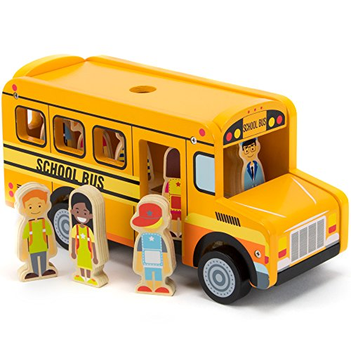Back to School Bus Wooden Vehicle Play Set with 8 Character Figures, 7 Students, 1 Bus Driver by Imagination Generation Doug Stop Sign