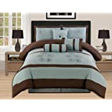AHF Embroidered Queen 7-Piece Comforter Set with Bag, Aqua/Brown