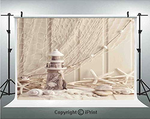 Fishing Net Decor Photography Backdrops Marine Theme Sea Stars and Shells Underwater Life Wooden Lighthouse,Birthday Party Background Customized Microfiber Photo Studio Props,10x6.5ft,Beige Cream]()