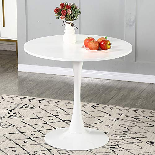 WENYU Round White Dining Table – Modern Dining Table Pedestal Dining Table for Small Space End Table Leisure Coffee…