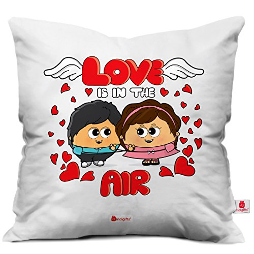 Indigifts Valentine Day Love is in the Air Quote Romantic Cute Young Couple White Cushion Cover 16x16 inch - Gift for Boyfriend-Girlfriend-Birthday, Wife, Husband, Anniversary, Love-Romantic-Gifts