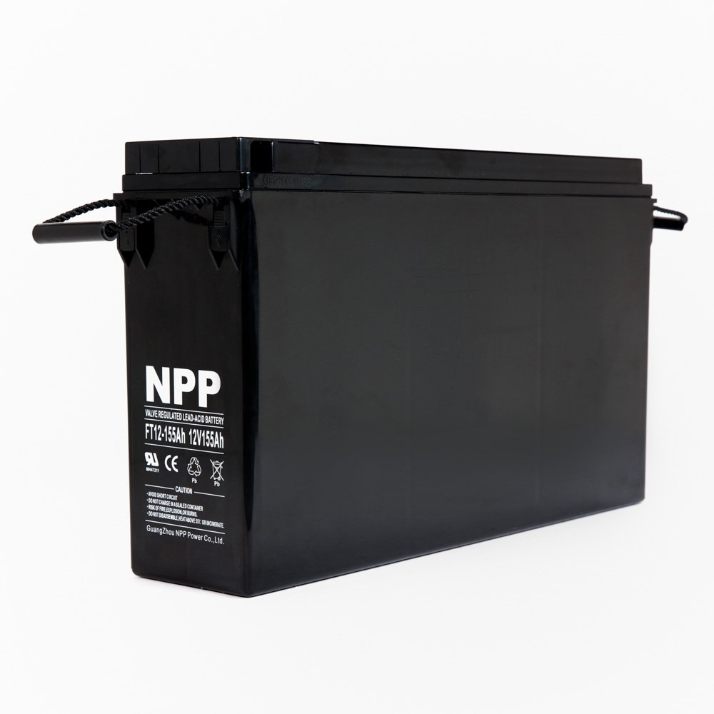 NPP 12V 155 Amp FT12 155Ah Front Access Telecom Deep Cycle AGM Battery With Button Style Terminals