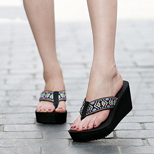 Verano Negro Clip Estudiante US6 Tamaño Zapatillas De EU37 Moda Pantofola 5 Ropa Azul Colores 4 Hembra Punta 235 Cuña Claro Exterior Playa PENGFEI Color UK5 xwEf7Xx