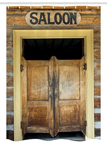 Ambesonne Saloon Decor Stall Shower Curtain, Authentic Saloon Doors of old Western Building in Montana Ghost Town, Fabric Bathroom Decor Set with Hooks 54 W x 78 L Inches, ()