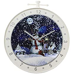 Fraser Hill Farm White Let Series 23-in. Wall Ornament Snowman Scene, Cascading Snow, and Holiday Music