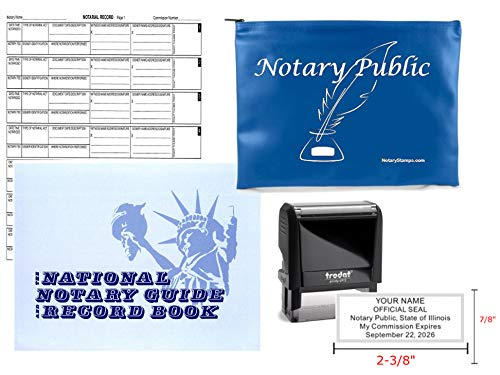 Notary Public Value Package | Journal, Stamp, and Cobalt Supplies Bag | Illinois ()
