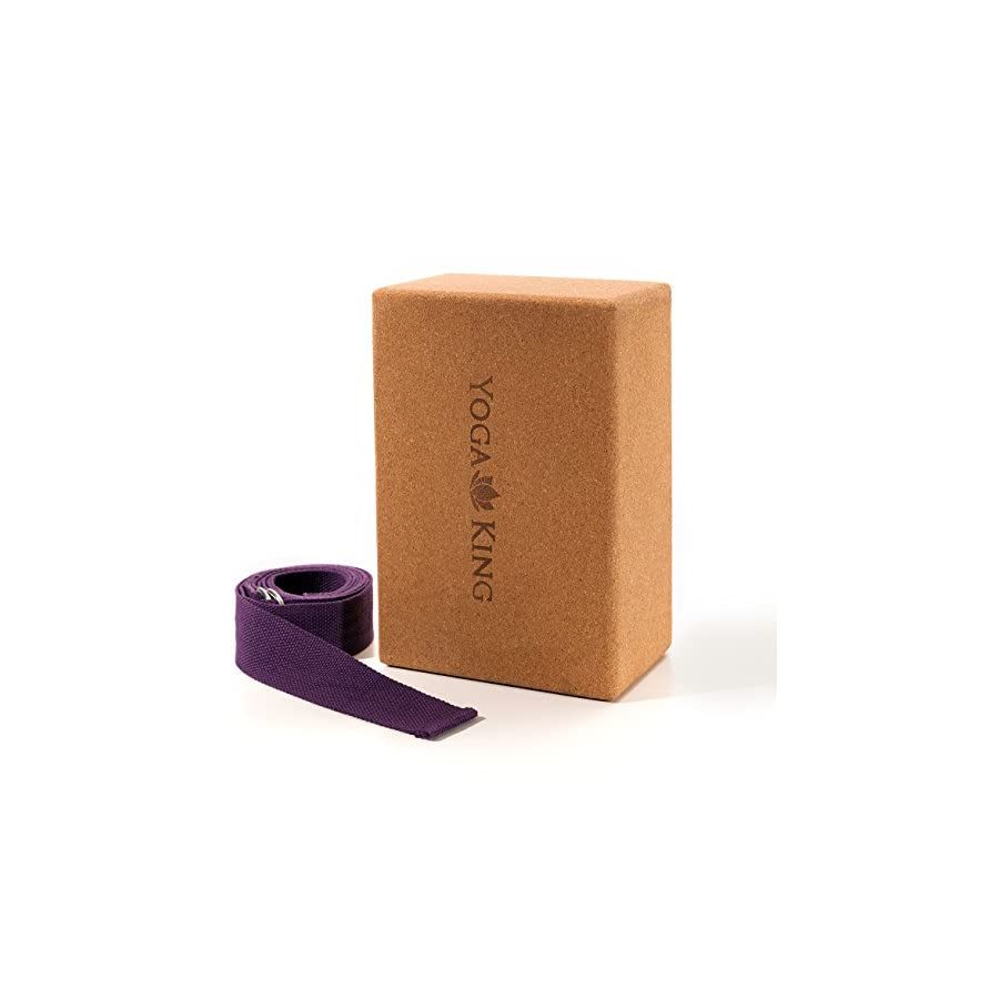 "Cork Yoga Block 4"" x 6"" x 9"" and Bonus Yoga Strap 