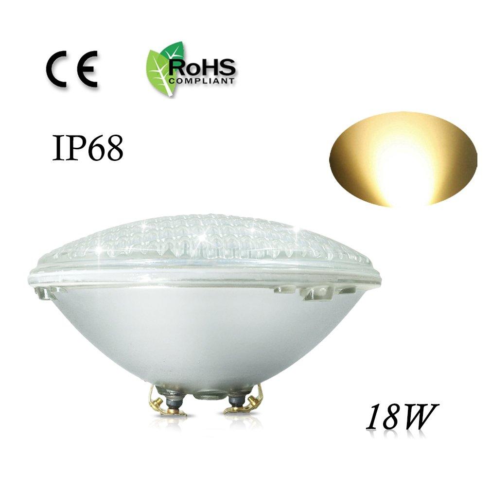 COOLWEST 18W LED Poolbeleuchtung Warmweiß Unterwasserleuchten, 12V AC/DC IP68 Wasserdicht Unterwasser PAR56 Pool Scheinwerfer, ersetzen 150W Halogen Spot