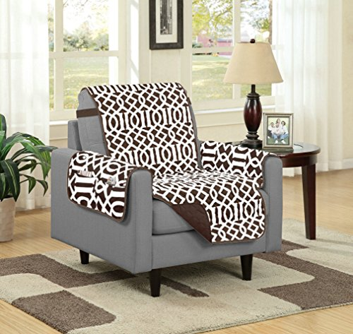 Linen Store Dallas Quilted Reversible Microfiber Furniture Protector With Strap and pockets, Chocolate, Chair (Home Store Dallas)