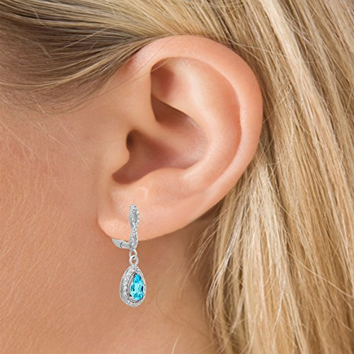 14K Or Blanc Topaze Bleu Coupe Poire et ronde Cut Blanc Diamant Mesdames Halo Pendentif-Boucles d'Oreilles Pendantes Femme -
