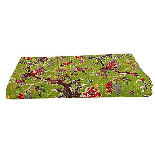 100% Cotton Green Cotton Kantha Blanket Hippie Bird Print Reversible Handmade Cotton Kantha Quilts Throw Stitched -