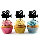 TA0351 Movie Camera Silhouette Party Wedding Birthday Acrylic Cupcake Toppers Decor 10 pcs