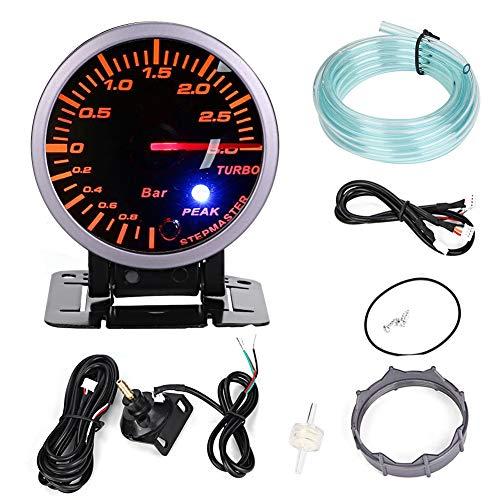 Qii lu Turbo Boost Meter,2.5inch 60mm 3.0 Bar LED Car Modification Turbo Boost Gauge Meter Pointer DC12V (Best 3 Gauges For A Turbo Car)